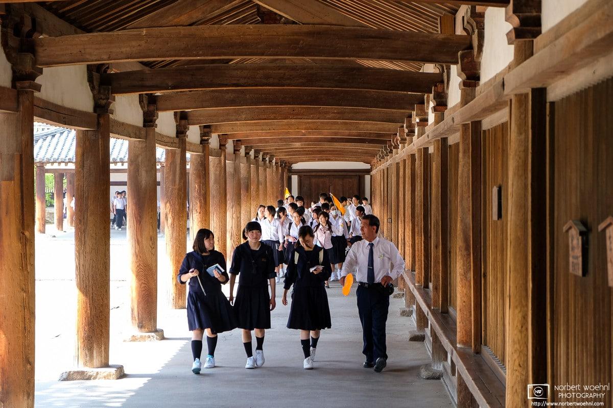 Students touring Horyuji Temple, Nara, Japan Photo