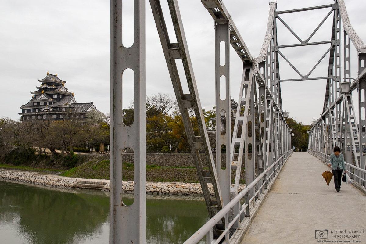 Okayama Castle and Tsukimi-bashi Bridge, Okayama, Japan Photo