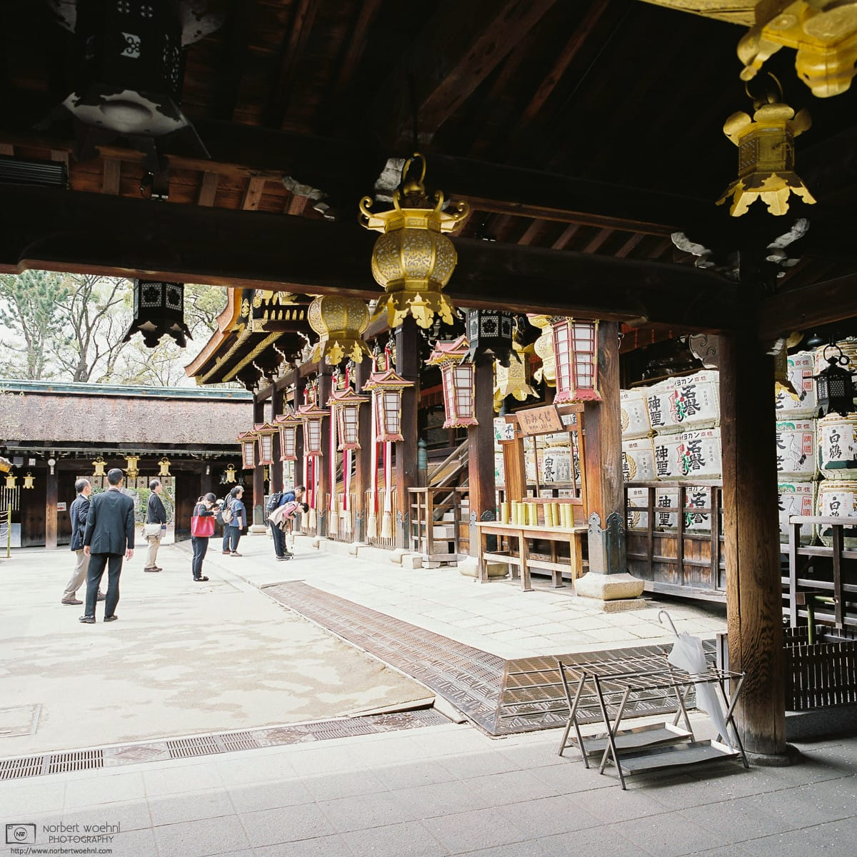 Visitors arriving for prayer, Kitano Tenmangu, Kyoto, Japan Photo