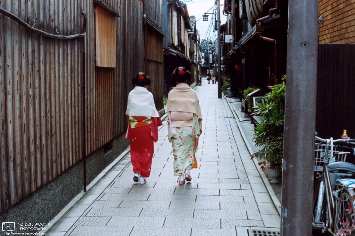 Gion Side Street Kimono Girls, Kyoto, Japan Photo