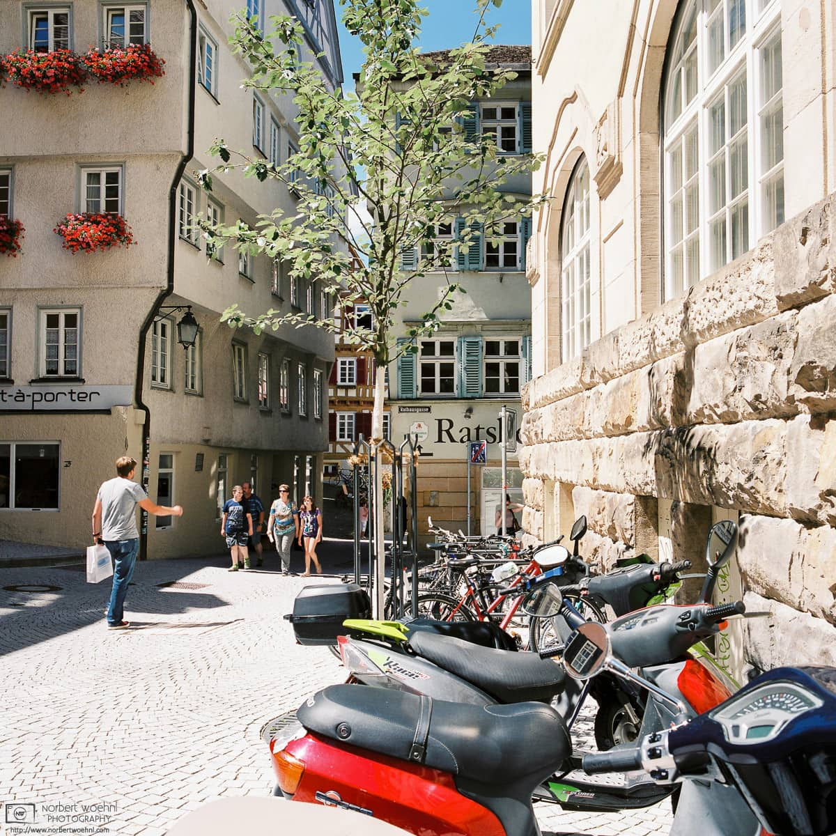Old Town Haaggasse with Motorcycles, Tübingen, Germany Photo