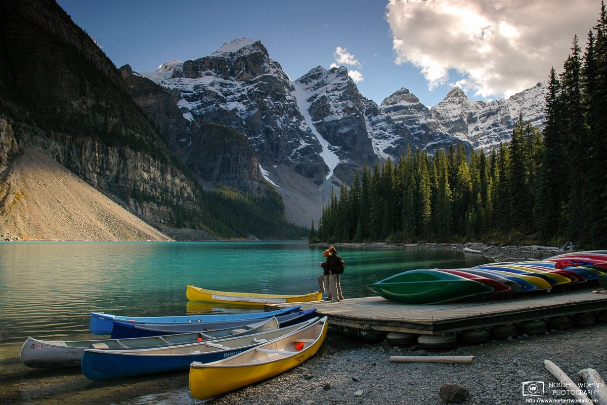 A late-afternoon scene near the canoe rental at Moraine Lake in Banff National Park in the Canadian Rockies.