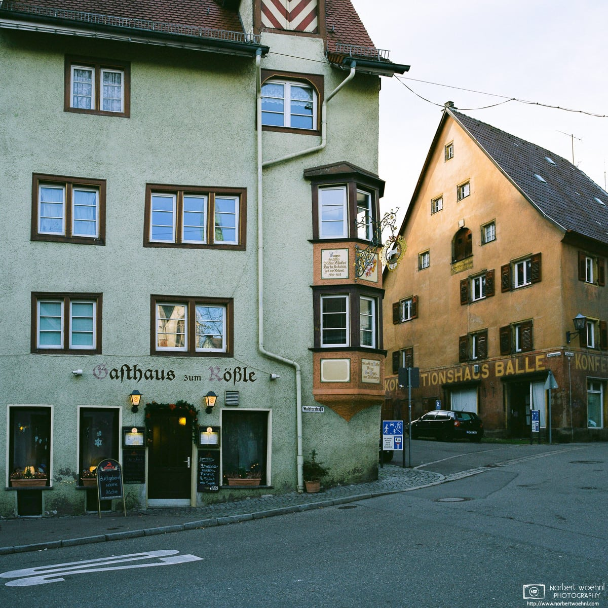 """A photo of the """"Rößle"""" in Rottweil, Germany - this building has been home to a restaurant since the late 17th century."""