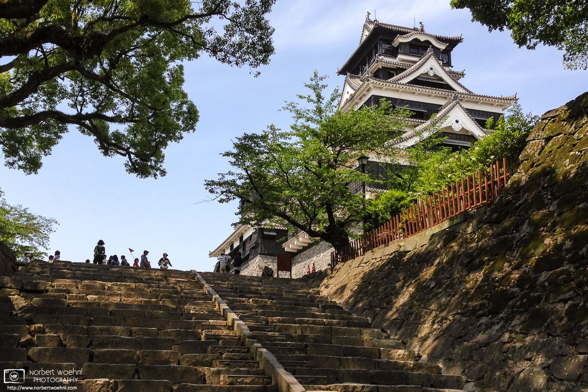 Kumamoto Castle in Kumamoto on Kyushu is considered one of the three premier castles in Japan, along with Himeji Castle and Matsumoto Castle.