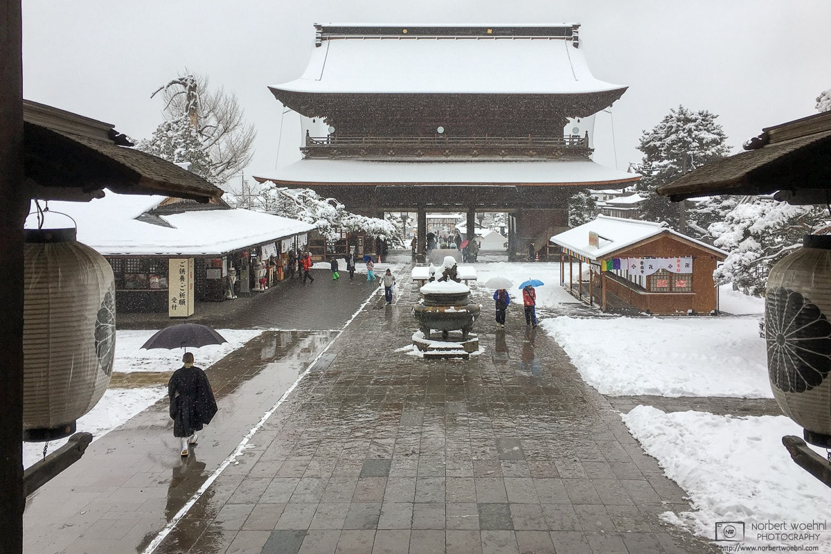 View from the Main Hall of Zenkōji Temple in Nagano, Japan, during a winter-day visit.