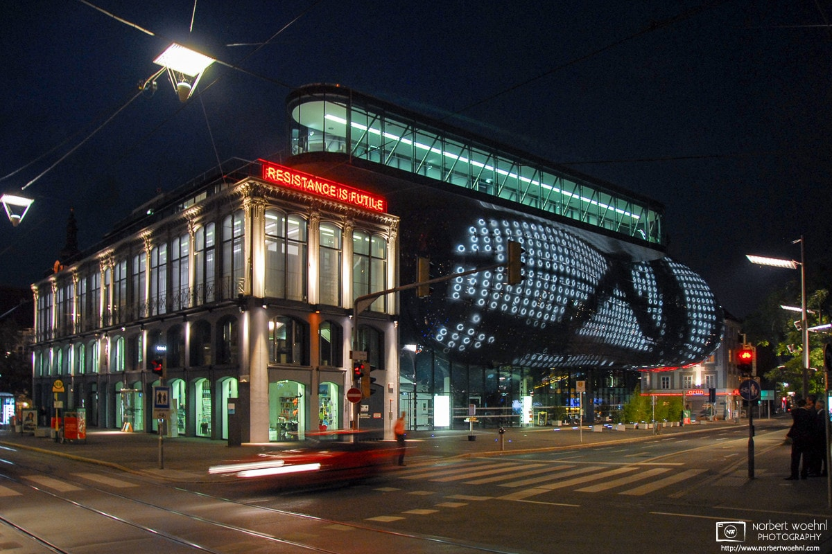 A night view of the Kunsthaus (Art Museum) in Graz, Austria, designed by Colin Fournier and Sir Peter Cook.