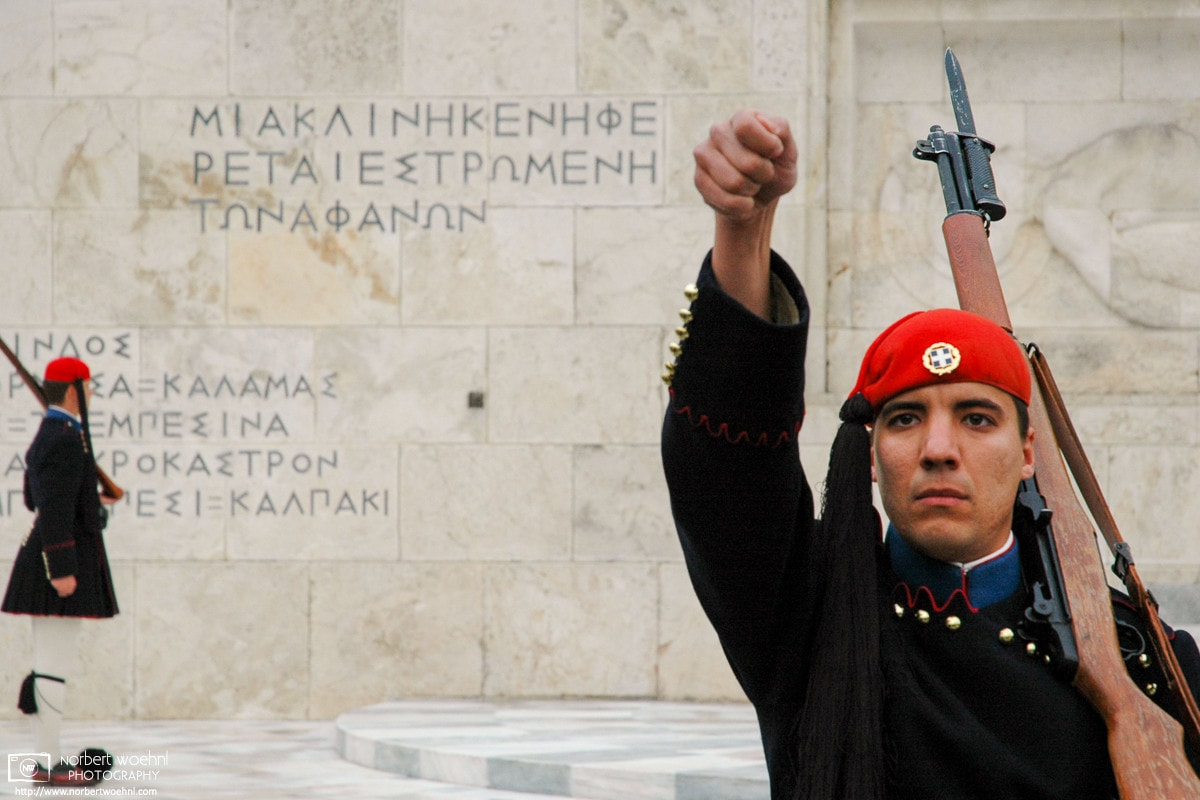Evzones (Presidential Guard Soldiers) outside the Hellenic Parliament on Syntagma Square in Athens, Greece.