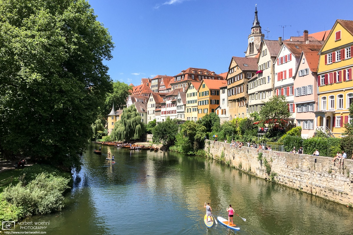 A view of the Neckar River and the Old Town at Tübingen in Baden-Württemberg, Southwestern Germany.