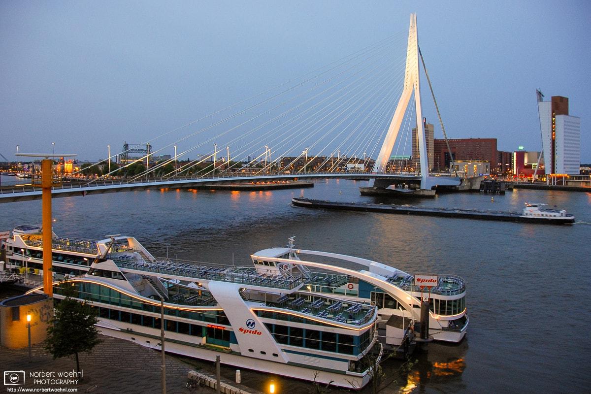 Evening mood at Erasmusbrug (Erasmus Bridge) in Rotterdam, The Netherlands.