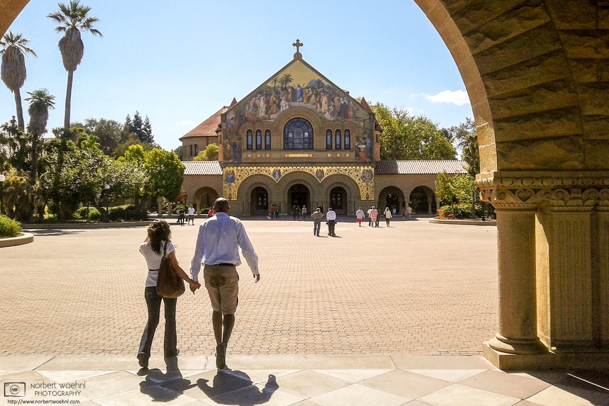 The Memorial Church on Stanford University Campus in California, as seen from the Main Quad.