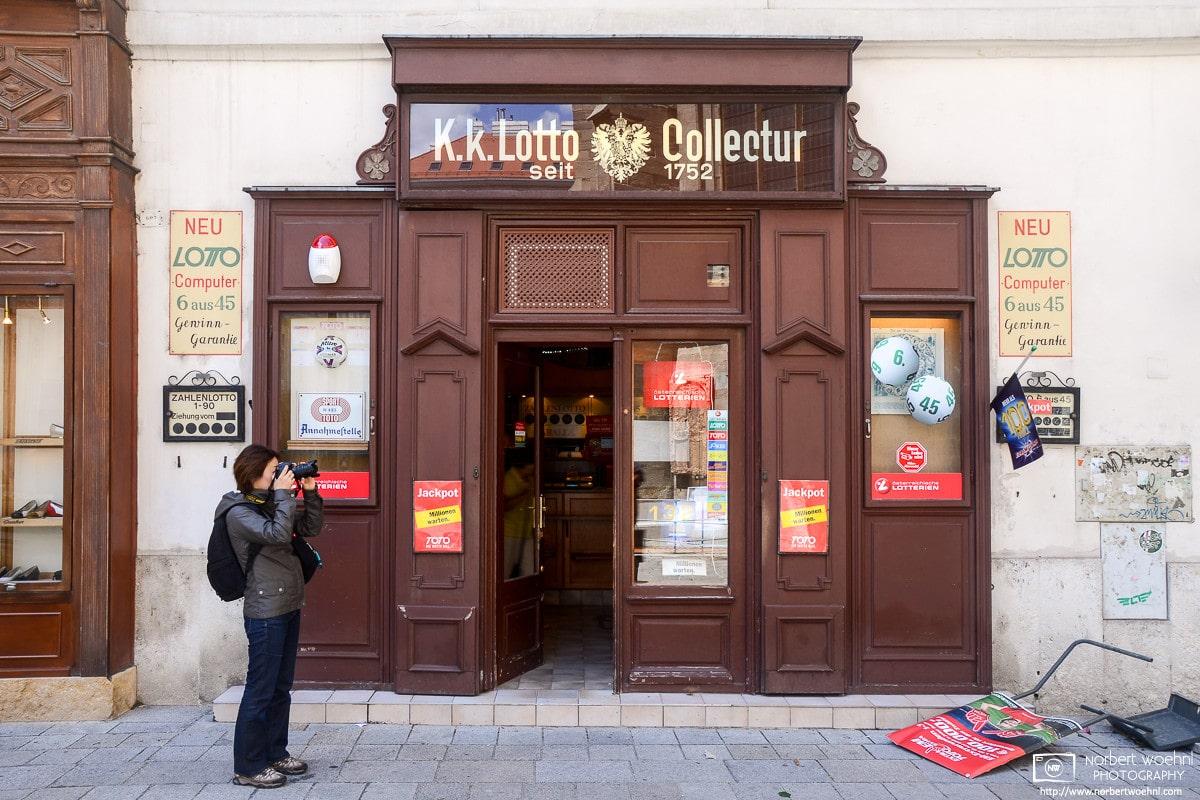 A scene outside your friendly 1752 lotto retailer on St. Stephen's Square (Stephansplatz) in Vienna, Austria.
