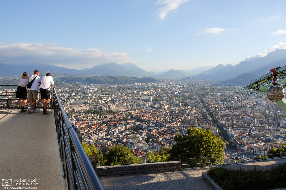 A view of Grenoble, France, looking in southern direction from La Bastille, the remains of the city's old fort.