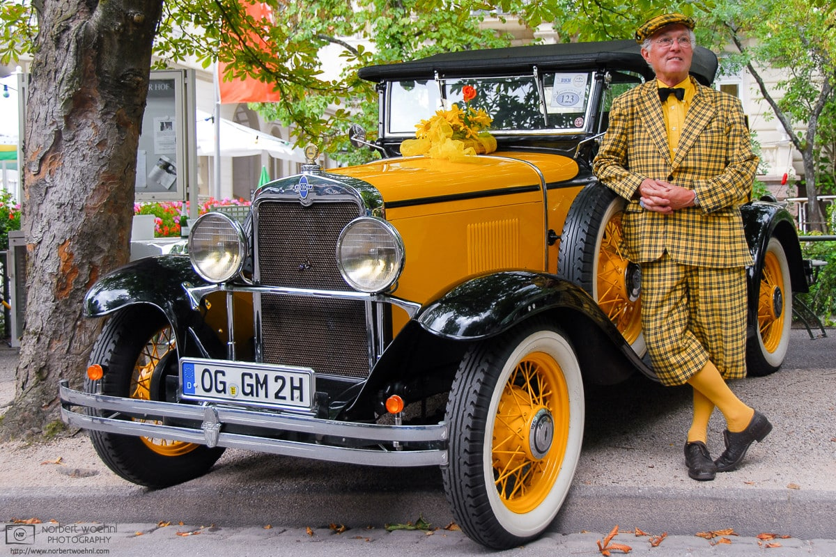 At a classic car show in Baden-Baden, Germany, I came across this uniquely-styled proud owner of a 1930s Chevrolet.