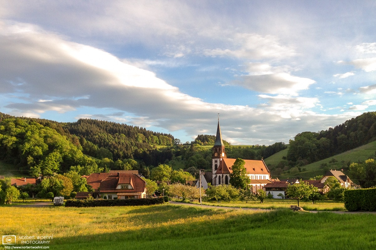 The last light of the day outside the village of Glottertal in the Black Forest region of Southwestern Germany.