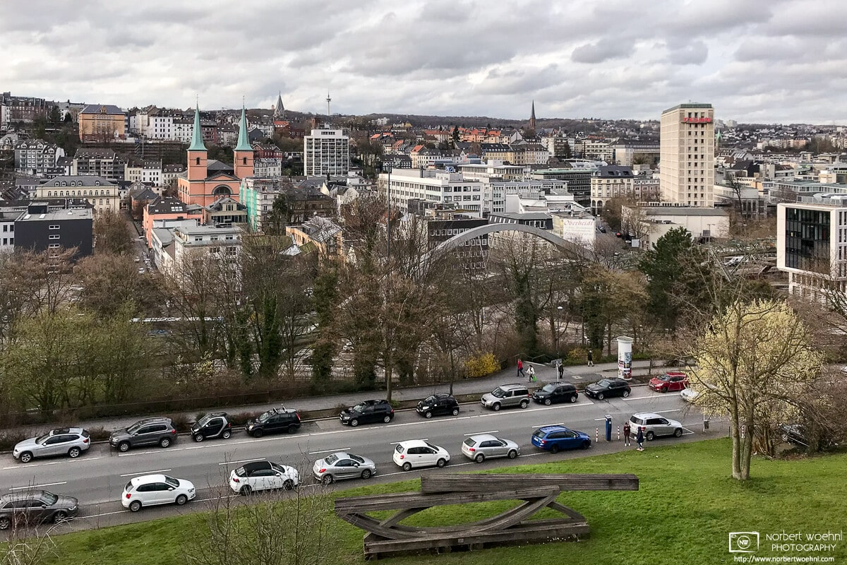 View over downtown Wuppertal in North Rhine-Westphalia, Germany, on an overcast April afternoon.